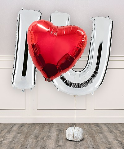 Ballon-Set I Love U und Valentinstags-Piccolo