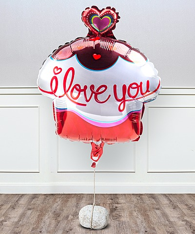 Ballon I love you Cupcake und haltbare Rose