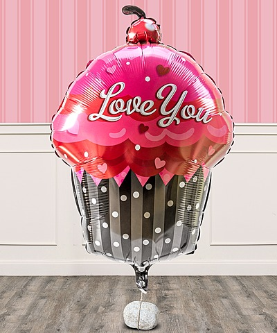 Riesenballon I love you Cupcake und Freixenet Semi Seco