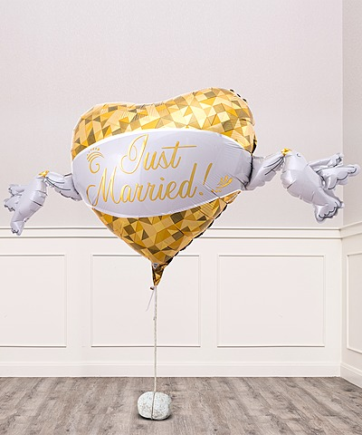 Riesenballon Golden Heart Just Married und Freixenet Semi Seco