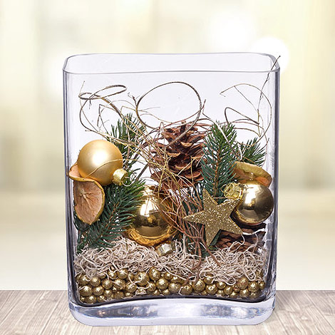 deko glas goldene weihnachten h he 25cm jetzt. Black Bedroom Furniture Sets. Home Design Ideas