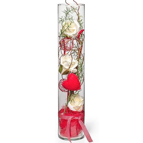 deko vase rosen creme 50cm und pralinen herzen jetzt bestellen bei valentins. Black Bedroom Furniture Sets. Home Design Ideas