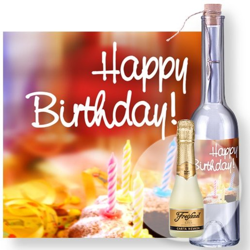 Flaschenpost Happy Birthday und Freixenet Semi Seco