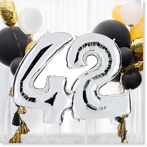 Riesenballon-Set Wunsch-Ziffern silber (Valentins)