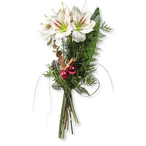 Weißes Amaryllis Glück und Windlicht mit Holzstern (11cm)
