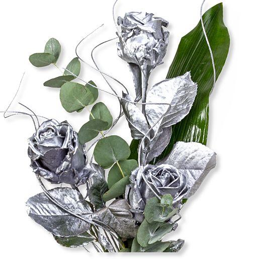 3 silberfarbene Rosen