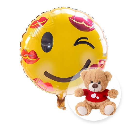 Ballon Kuss Smiley und Love Teddy
