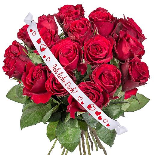 18 rote Rosen und Schleife Ich liebe Dich!