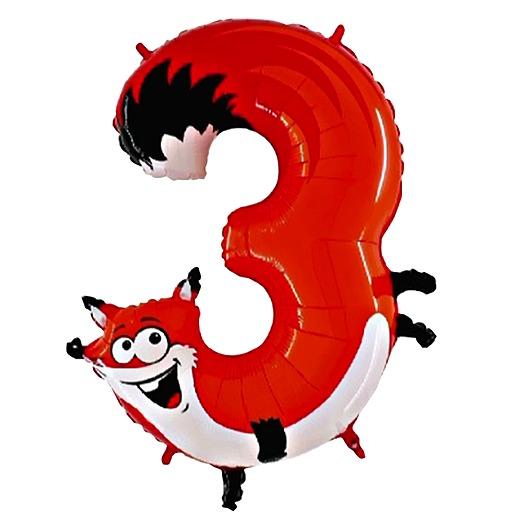 Tierischer Zahlen Ballon 3 Fuchs