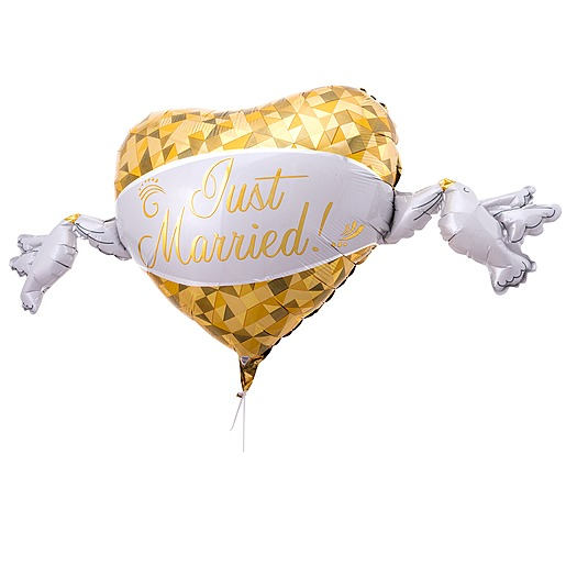 Riesenballon Golden Heart Just Married