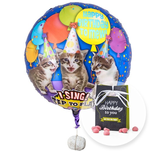 singender ballon tierische geburtstagsgr e katzen und himbeer bonbons happy birthday 39795. Black Bedroom Furniture Sets. Home Design Ideas