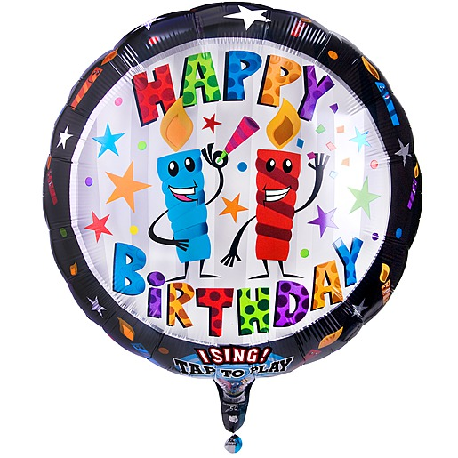 Singender Ballon Happy Birthday Kerzen