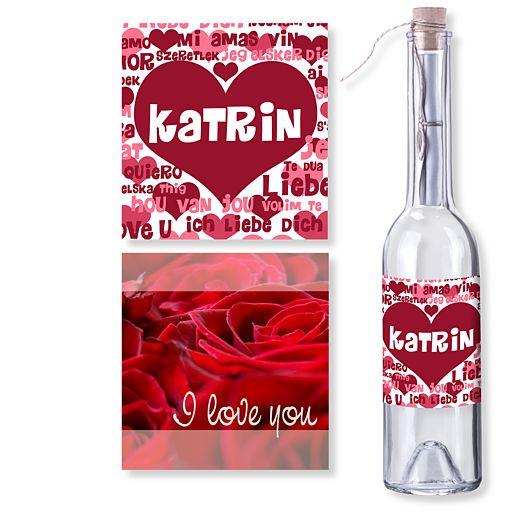Personalisierte Flaschenpost Liebe