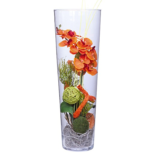Deko Vase Orchidee orange (50cm)