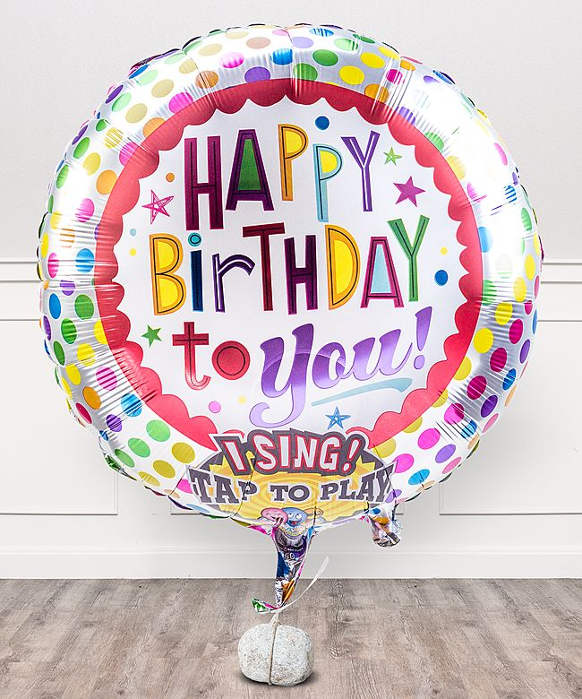 Singender Ballon Happy Birthday to You! und Himbeer-Bonbons Happy Birthday - jetzt bestellen bei Valentins