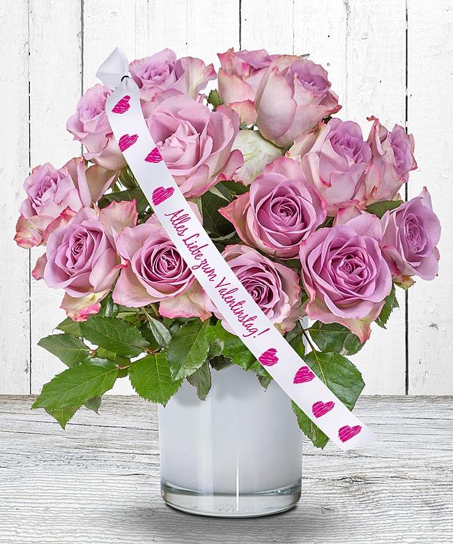 14 rosafarbene rosen und schleife alles liebe zum valentinstag jetzt bestellen bei valentins. Black Bedroom Furniture Sets. Home Design Ideas