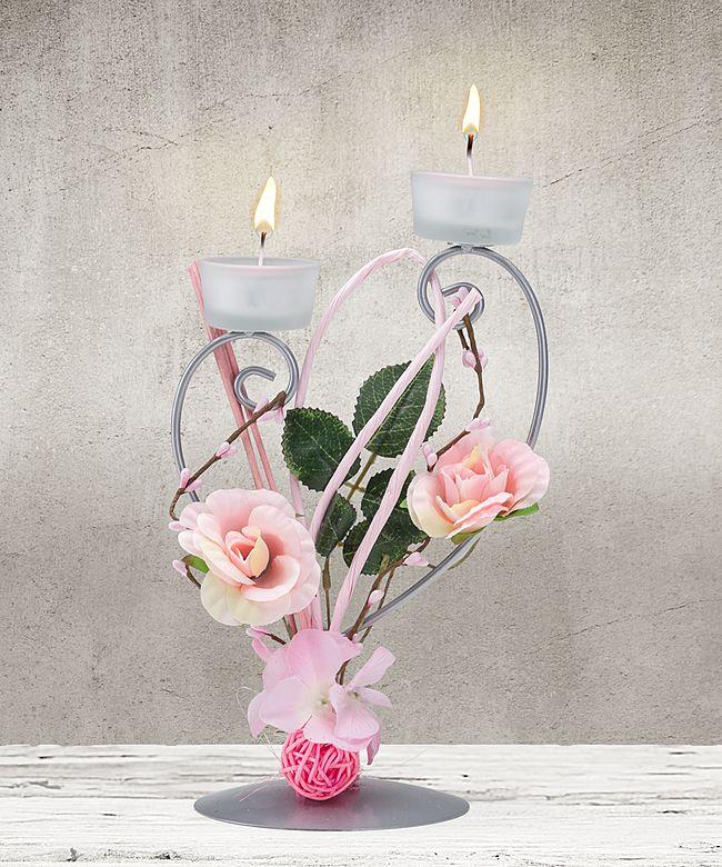 Deko Blumen teelichthalter mit rosafarbener blumen deko und kirschblüten secco