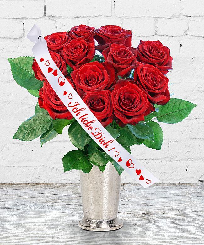 12 langstielige rote premium rosen und schleife ich liebe dich jetzt bestellen bei valentins. Black Bedroom Furniture Sets. Home Design Ideas