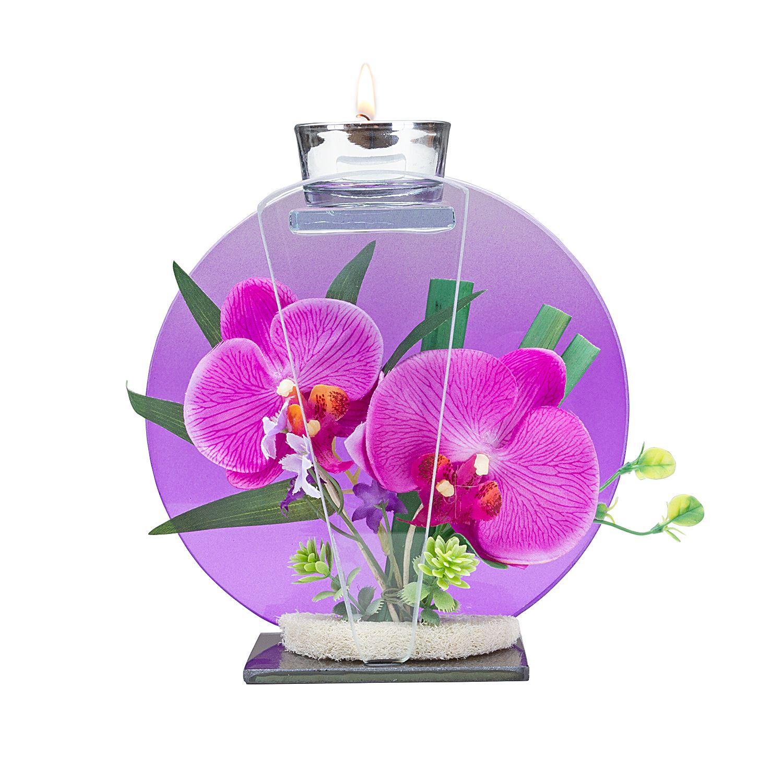 Glas Windlicht Mit Orchideen Deko Und Kirschbluten Secco Jetzt