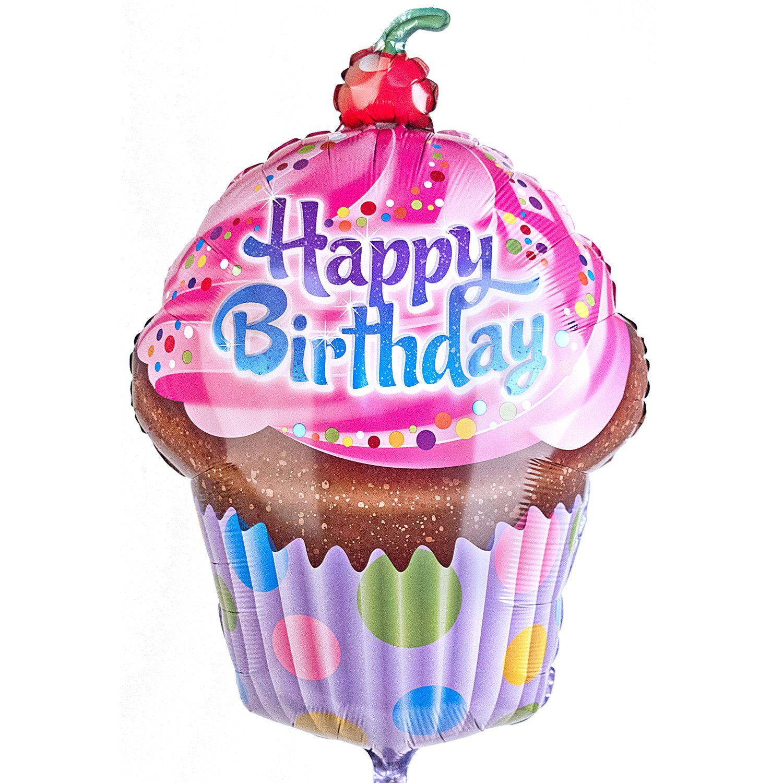 Riesenballon Happy Birthday Cupcake Und Glückwunsch Teddy Jetzt