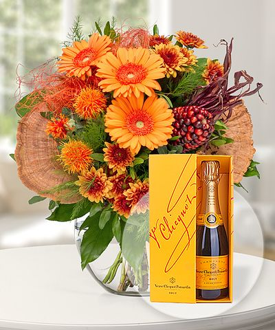 Amber und Champagner Veuve Clicquot