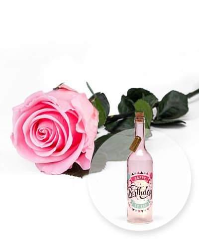 Rosafarbene Infinity-Rose und Pinke Glasflasche Happy Birthday mit LED