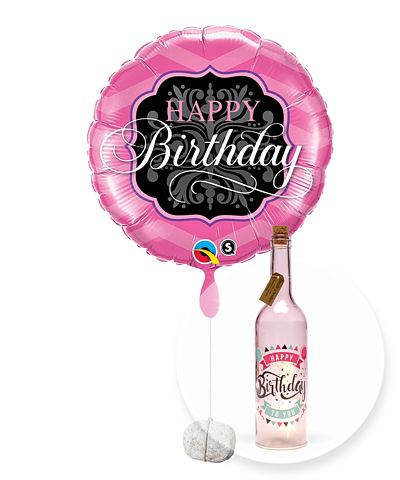 Ballon Happy Birthday Pink and Black und Pinke Glasflasche Happy Birthday mit LED