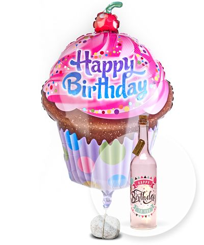 Riesenballon Happy Birthday Cupcake und Pinke Glasflasche Happy Birthday mit LED