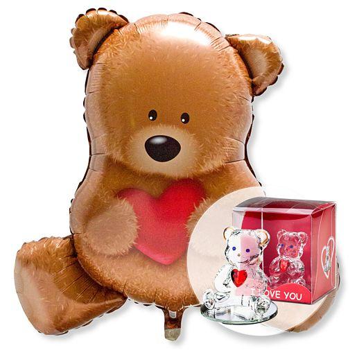 Ballon Kuschelbär und Glasbär mit Herz