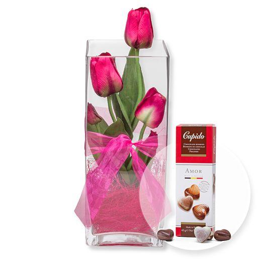 Deko Vase Tulpen Pink (30cm) und Pralinen Herzen