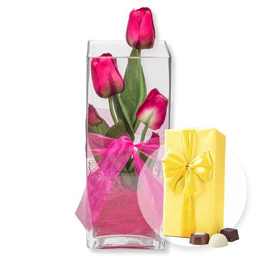 Deko Vase Tulpen Pink (30cm) und Belgische Pralinen