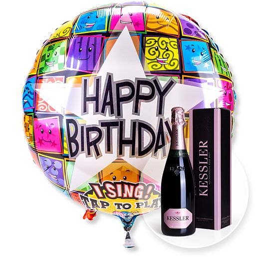 Partybedarfballons - Singender Ballon Happy Birthday Faces und Kessler Rose Sekt - Onlineshop Valentins