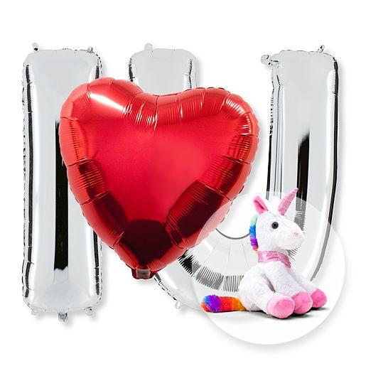 Partybedarfballons - Riesenballon Set I Love U und Plüsch Einhorn - Onlineshop Valentins