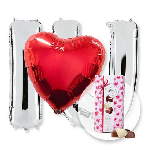 Partybedarfballons - Ballon Set I Love U und Herz Pralinen Trio - Onlineshop Valentins