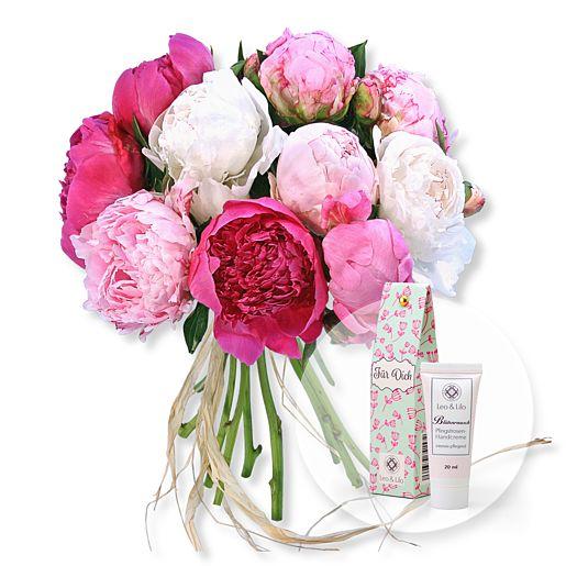 10 Pfingstrosen gemischt und Blütenrausch Pfingstrosen Handcreme Für Dich
