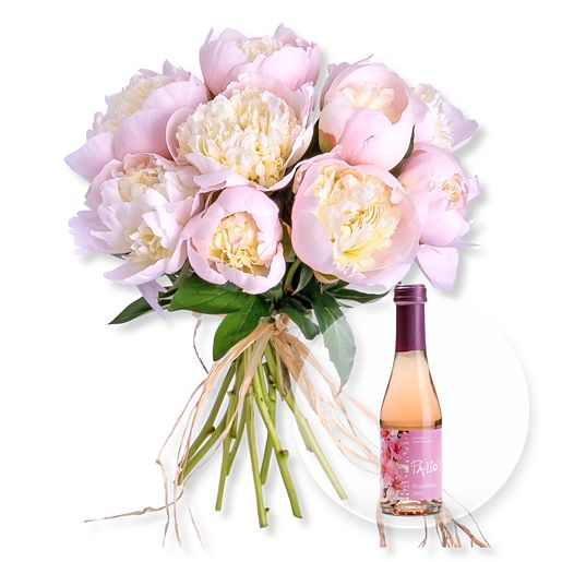 10 Pfingstrosen rosa und Kirschblüten Secco