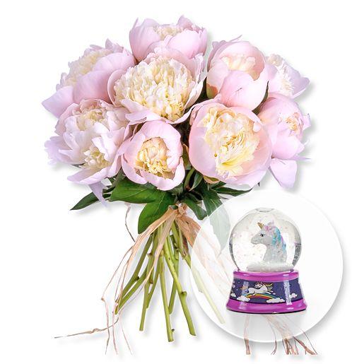 10 Pfingstrosen rosa und Schüttelkugel Einhorn