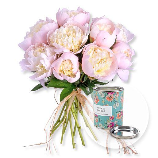 10 Pfingstrosen rosa und Wachskerze Vanille