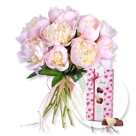 10 Pfingstrosen rosa und Herz Pralinen Trio