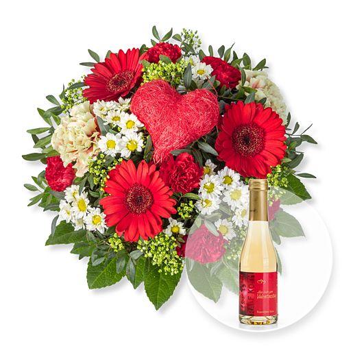 Herzensgruß und Rosenblüten-Secco Alles Liebe zum Valentinstag