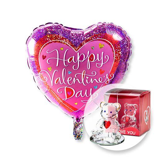 Ballon Happy Valentines Day und Glasbär mit Herz