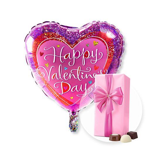 Ballon Happy Valentines Day und Belgische Pralinen