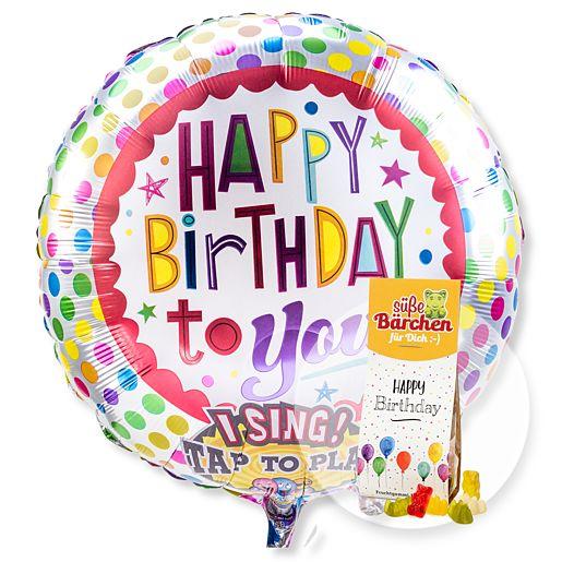 Partybedarfballons - Singender Ballon Happy Birthday to You! und Fruchtsaftbären Happy Birthday - Onlineshop Valentins