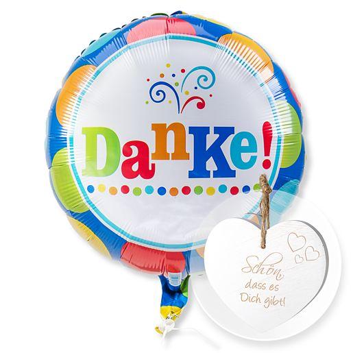 Ballon Danke und Vintage-Herz Schön, dass es Dich gibt!