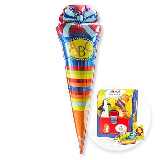 Partybedarfballons - Ballon blaue ABC Schultüte und Schulranzen Naschtüte - Onlineshop Valentins