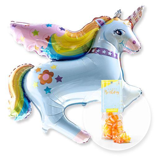 Partybedarfballons - Ballon Rainbow Einhorn und Fruchtgummi Happy Birthday - Onlineshop Valentins
