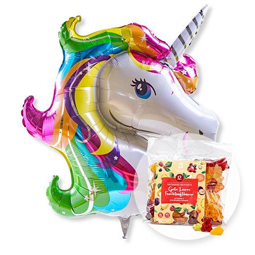 Partybedarfballons - Riesenballon Einhorn Glitter und Gute Laune Fruchtsaftbärchen - Onlineshop Valentins