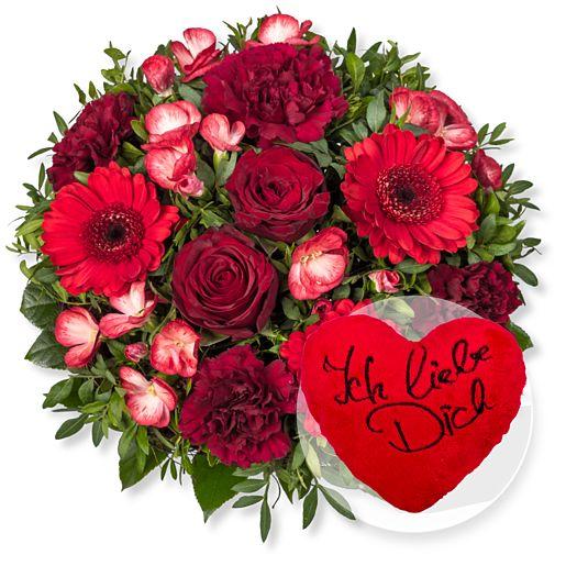 Glücksgefühl und Kuschel-Herz Ich liebe Dich