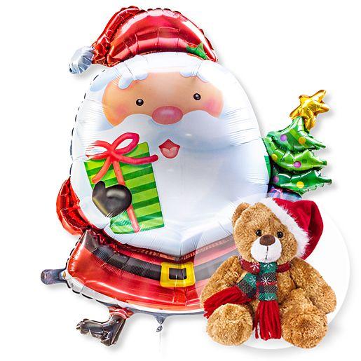 Riesenballon Santa Claus und Weihnachts Teddy