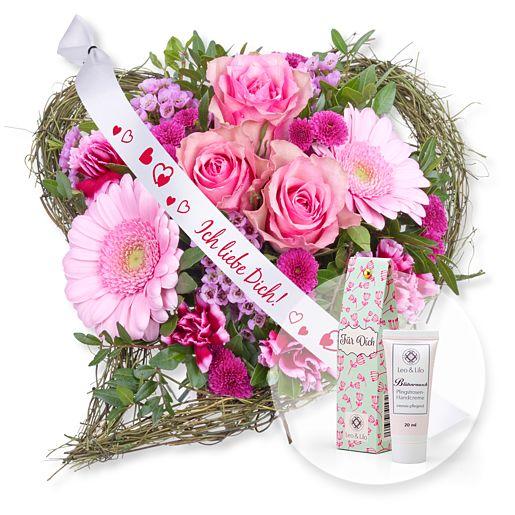 - Von Herzen und Schleife Ich liebe Dich! und Blütenrausch Pfingstrosen Handcreme Für Dich - Onlineshop Valentins